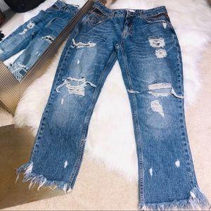 Zara Distressed Raw Hem Cheetah Insert Jeans